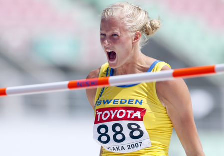 Sweden's Carolina Kluft reacts during the women's heptathlon high jump, 25 August 2007, at the 11th IAAF World Athletics Championships, in Osaka.  AFP PHOTO / ADRIAN DENNIS